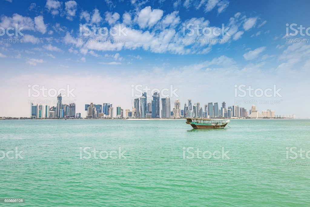 Traditional Dhow Modern Doha Skyline Qatar stock photo