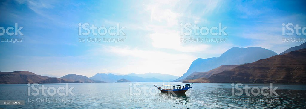 Traditional Dhow on the gulf stock photo
