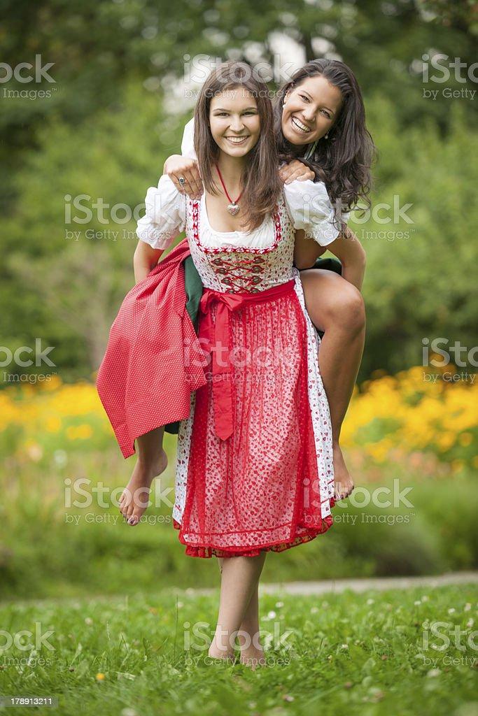 Traditional Dirndl, Oktoberfest - Outfoor Fun stock photo