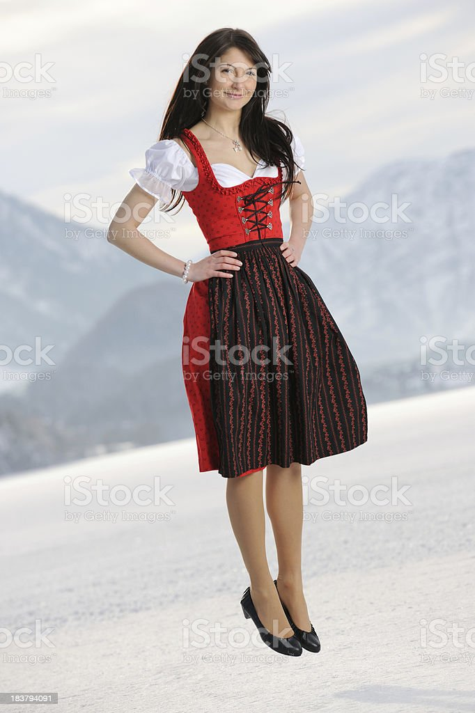 Traditional Dirndl - Outfoor Fun stock photo