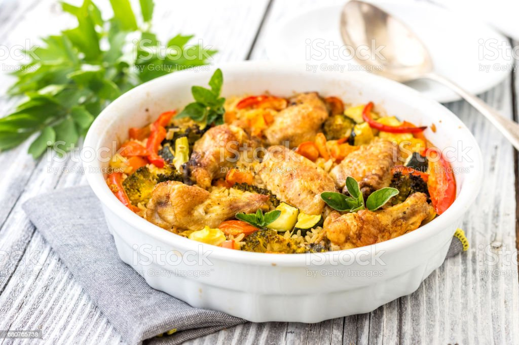 Traditional dish of rice,vegetable and meat-pilaf stock photo