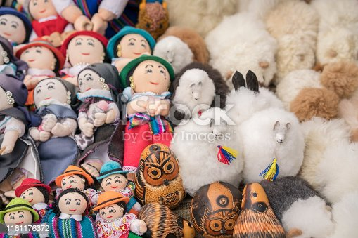 Colorful indigenous dolls, some made from Alpaca wool with traditional motives on Otavalo market which is famous for weaving textiles, usually made of wool, like handmade blankets, tablecloths and handcrafts.
