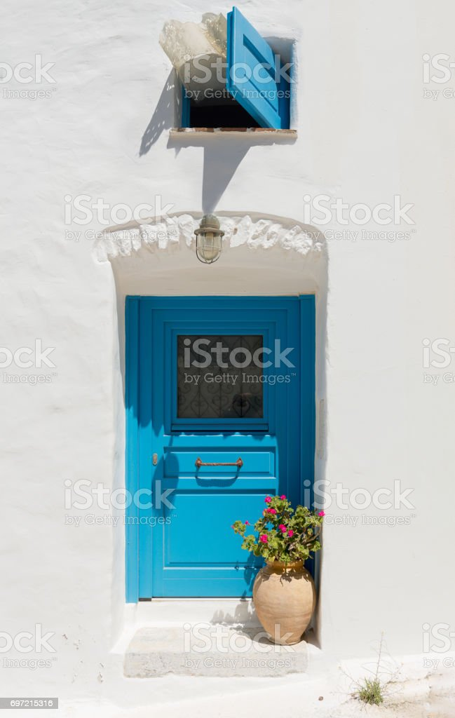 Traditional door at Astypalea stock photo