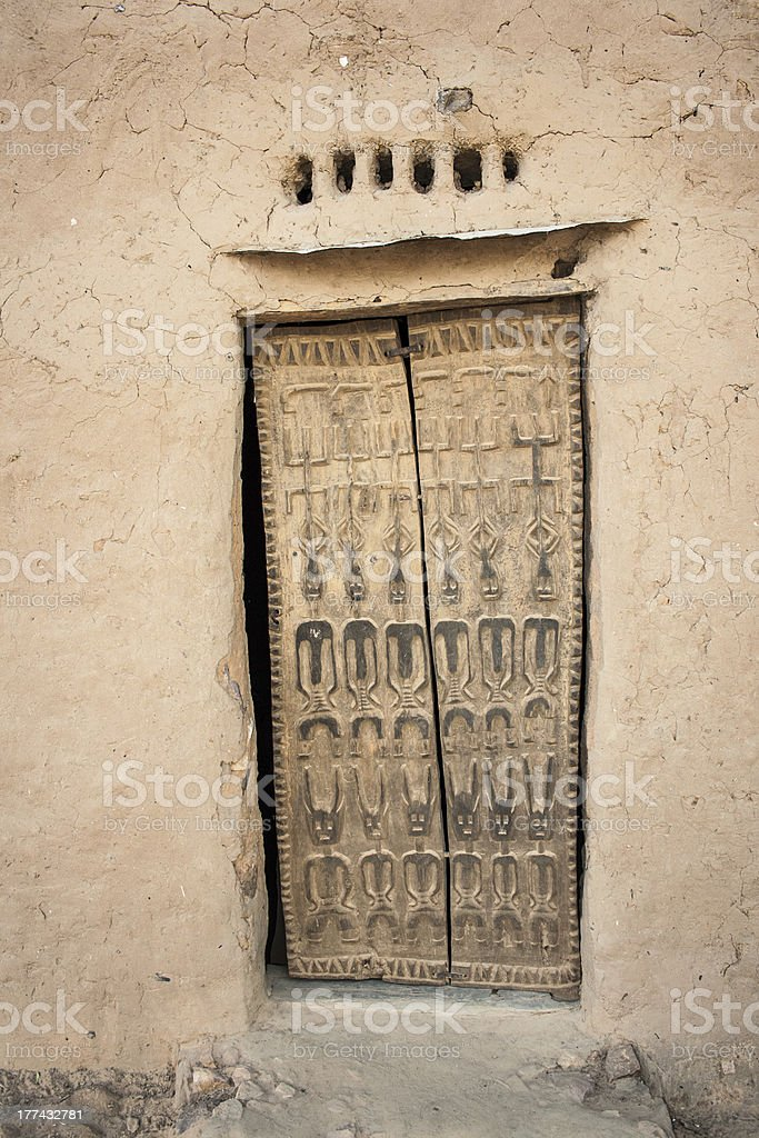Traditional door, Bandiagara Escarpment. stock photo