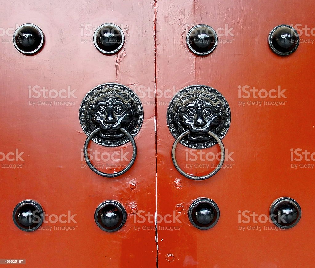 Traditional door knockers stock photo