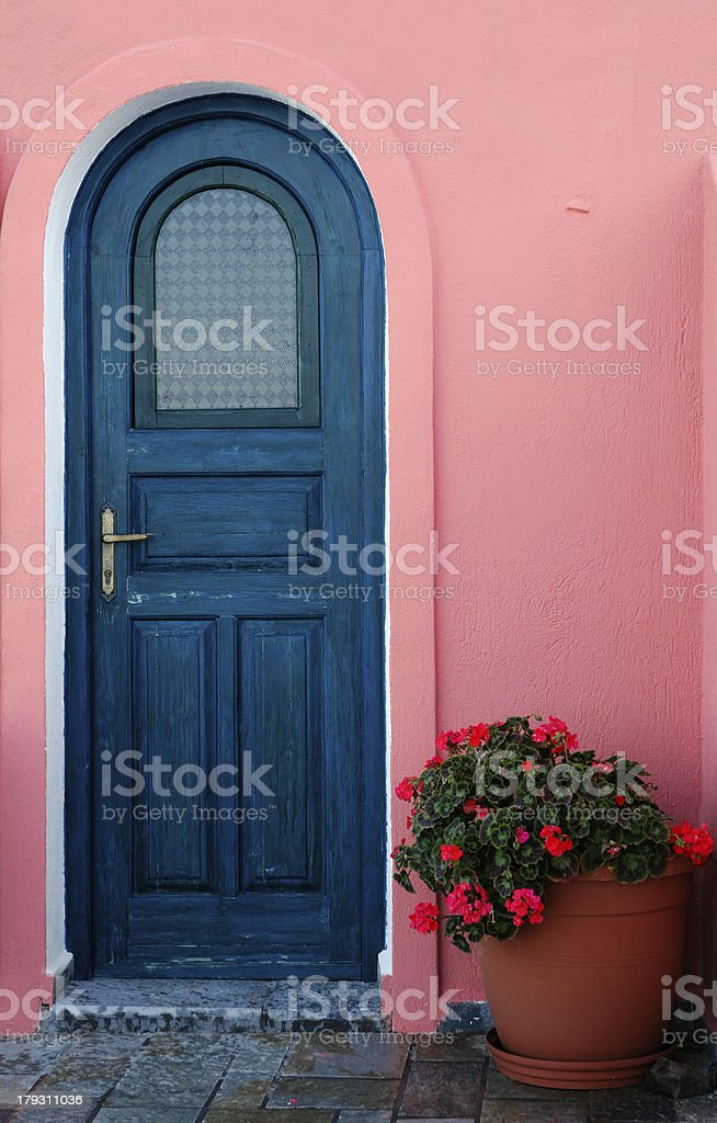 Traditional door on a Greek island stock photo
