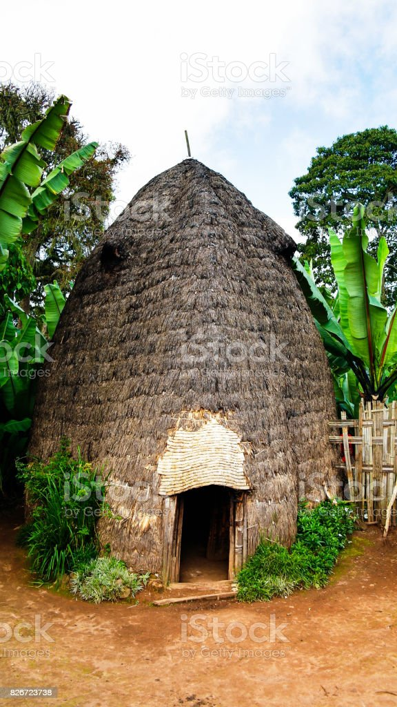Traditional Dorze tribe house in Chencha Ethiopia stock photo