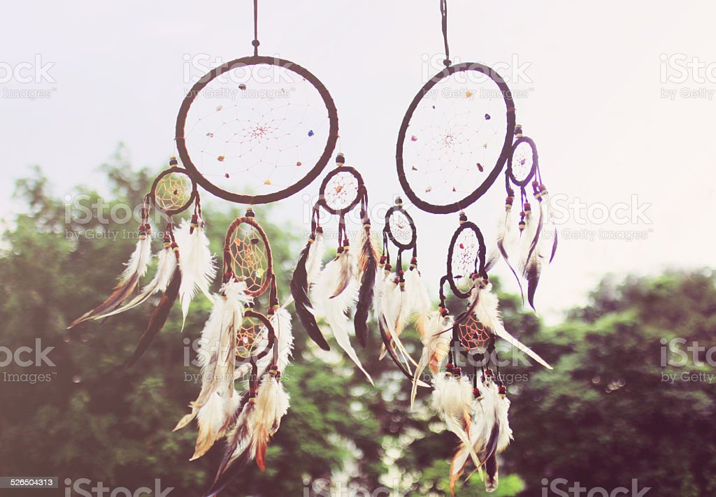 Traditional dreamcatcher with retro filter effect stock photo