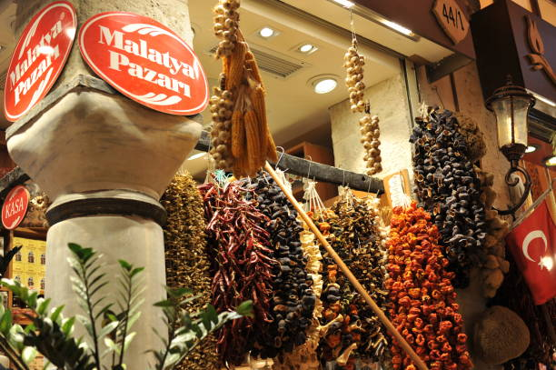 traditional dried fruits at spice bazaar in istanbul stock photo