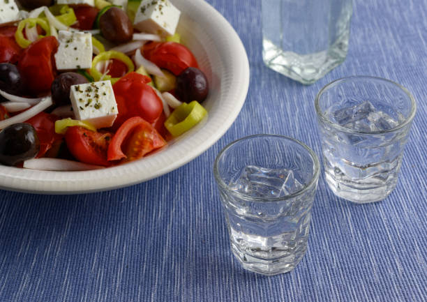 Traditional drink Ouzo or Raki stock photo