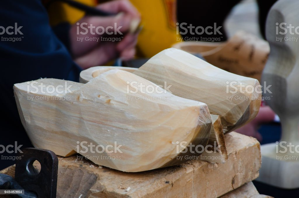 Traditional Dutch Clogs being hand made stock photo