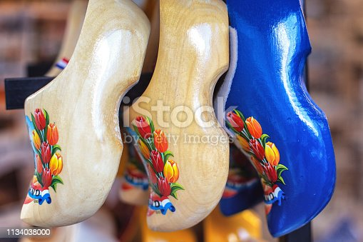 Traditional Dutch clogs with tulip flowers at Volendam, The Netherlands