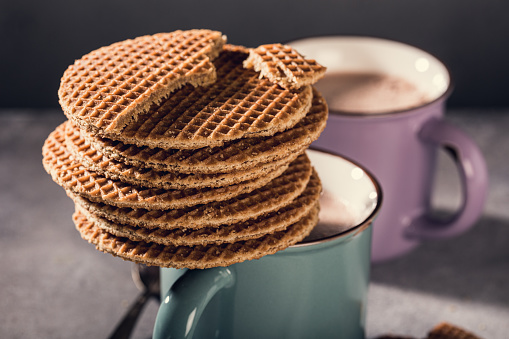 Traditional Dutch Cookies Syrupwaffles Stock Photo - Download Image Now