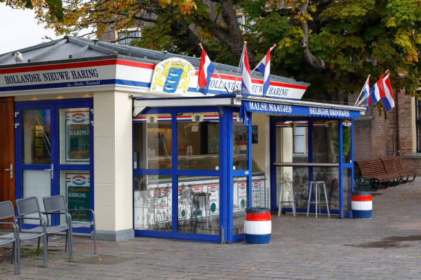 Traditional Dutch herring outdoor kiosk in The Hague