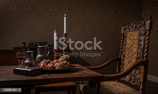 Traditional dutch historical drawing room table scene