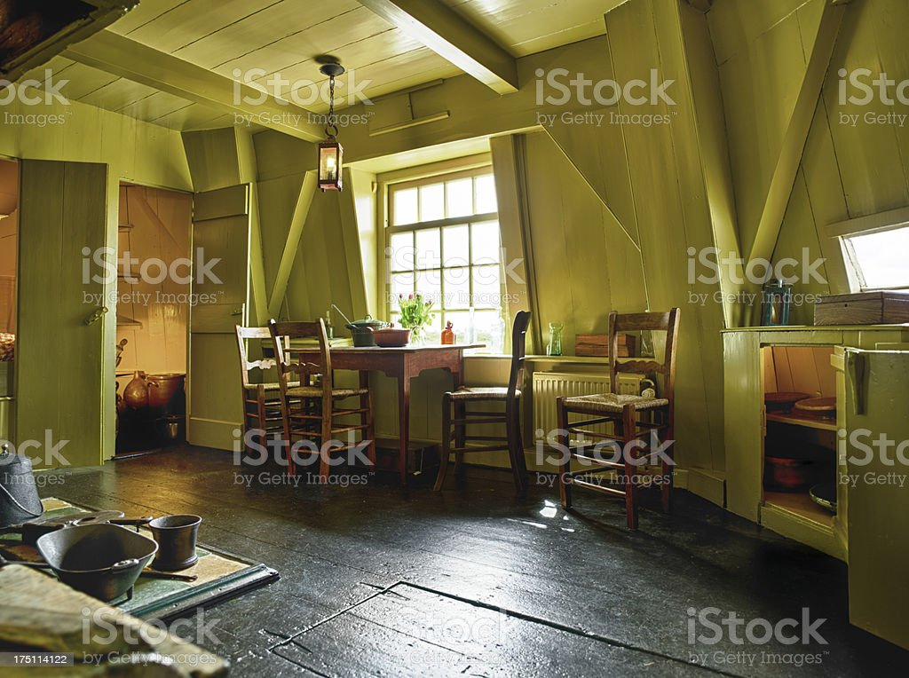 Traditional Dutch house in a windmill royalty-free stock photo