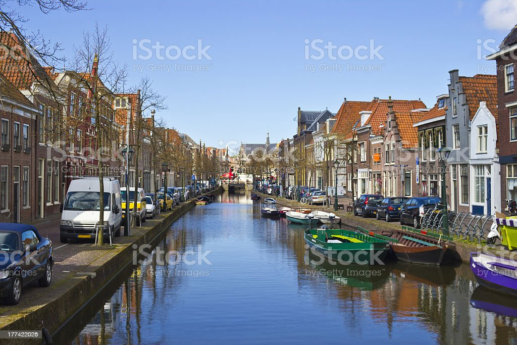 Traditional dutch houses on canal in Alkmaar, Holland, The Netherlands stock photo