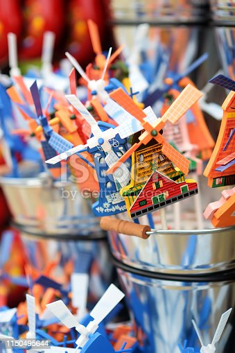 Traditional Dutch Windmill Pinwheel Toys for sale at a Dutch shop in the Keukenhof, Garden of Europe, Netherlands. Souvenirs from Holland.