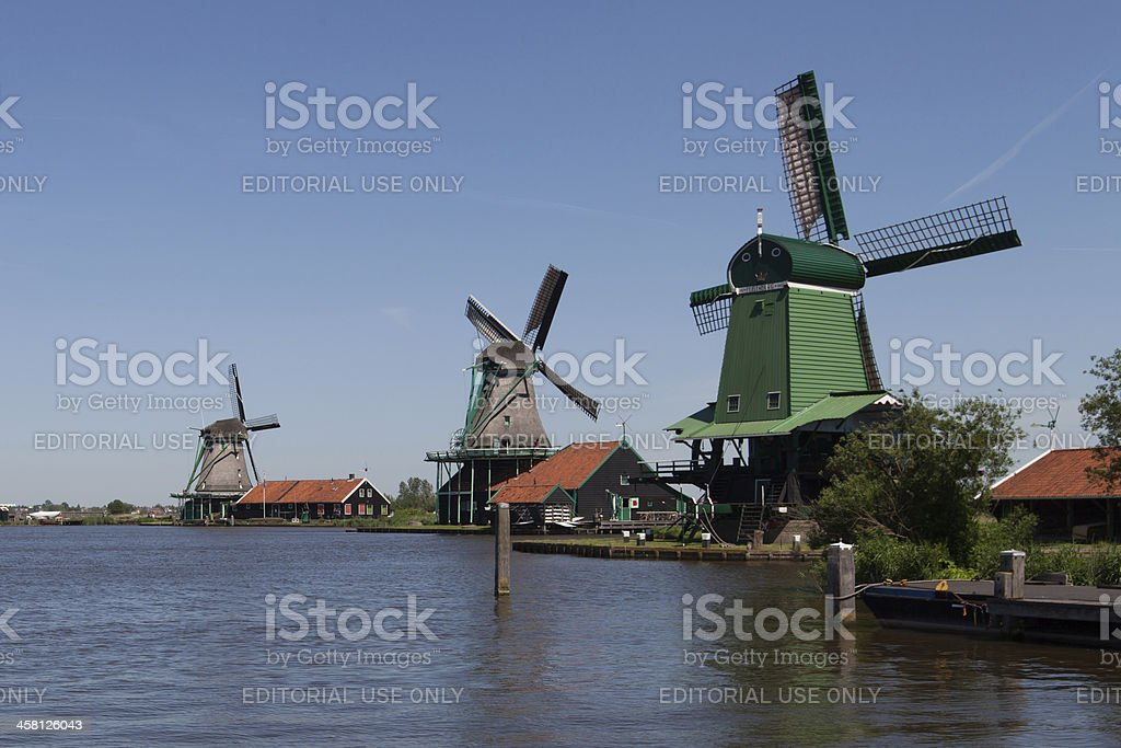 Traditional Dutch windmills at the Zaanse Schans in Zaanstad royalty-free stock photo