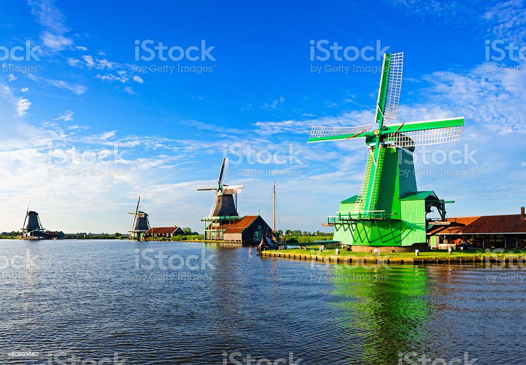 Traditional Dutch windmills at Zaanse Schans stock photo