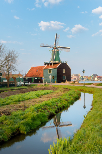traditional Dutch windmills at the Zaanse Schans in The Netherlands.