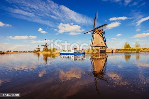 istock Traditional Dutch windmills from the channel Rotterdam. Holland. 474427098
