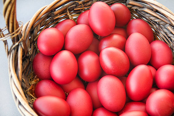 traditional dyed easter eggs - greek easter stock photos and pictures