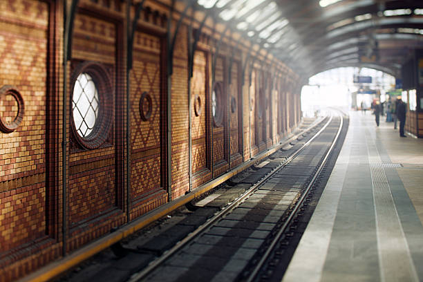 Traditional East Berlin Station Traditional old subway station in Berlin. railroad station stock pictures, royalty-free photos & images