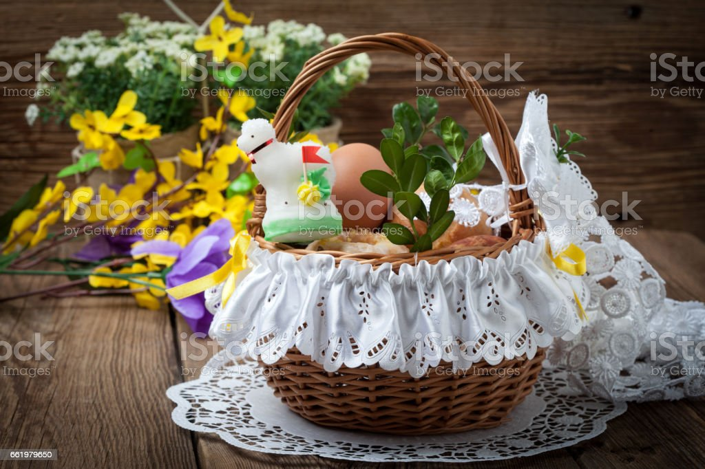 Traditional Easter basket with food. royalty-free stock photo