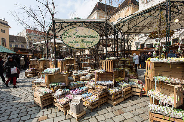 Traditional Easter Market In Vienna Vienna, Austria aa April 1, 2013: every year at easter time is a tratitional old easter market in the city center of Vienna. Merchants offer beautiful easter decorations on the square called aFreyunga. annually stock pictures, royalty-free photos & images
