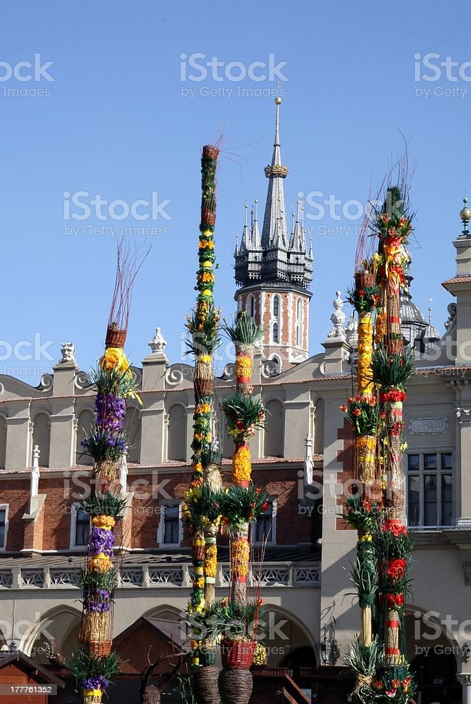 traditional Easter ornamental Palms in center of Krakow royalty-free stock photo