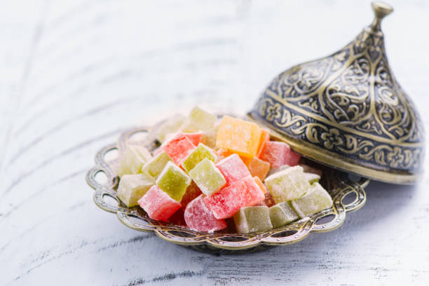 traditional eastern dessert rahat lokum - eid stock pictures, royalty-free photos & images
