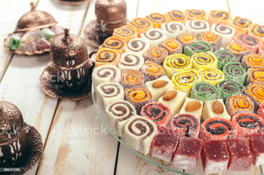 traditional eastern desserts on wooden background royalty-free stock photo