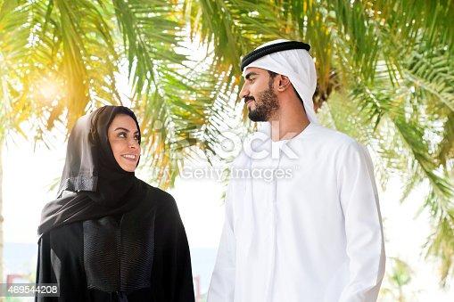 Traditional Emirati young couple enjoying life outdoor. Shoot from Istockalypse Dubai 2015.