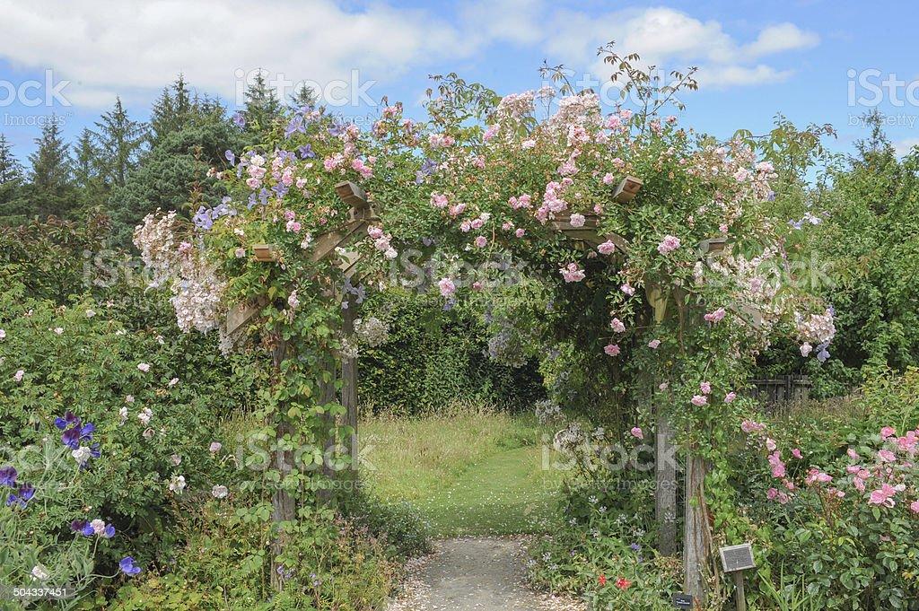 Traditional English Cottage Garden in Devon in summer. stock photo