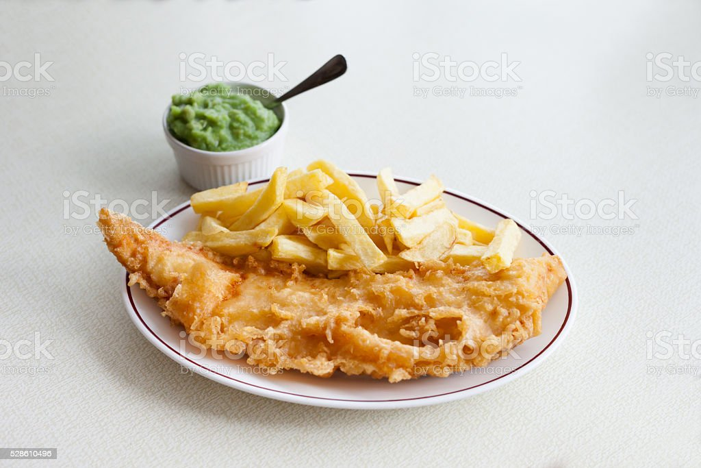 Traditional english fish and chips stock photo