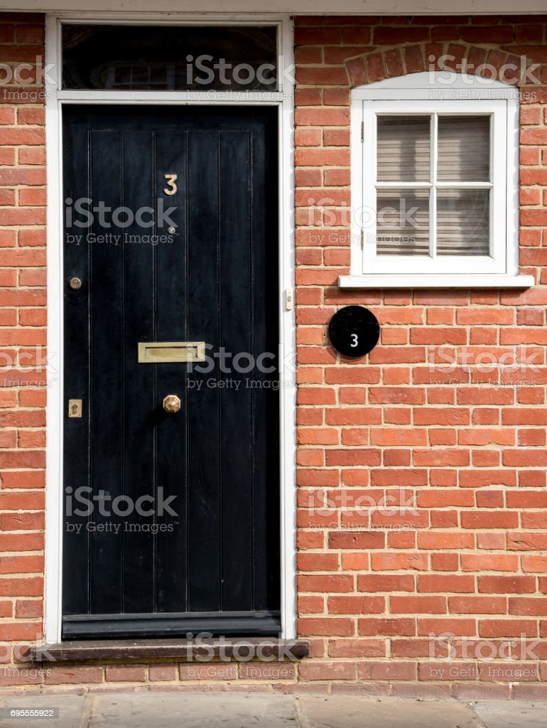 Traditional English house front entrance stock photo