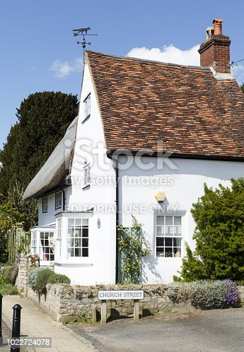 Winslow, UK - April 27, 2015. A traditional English house on Church Street in the historic market town of Winslow in Buckinghamshire