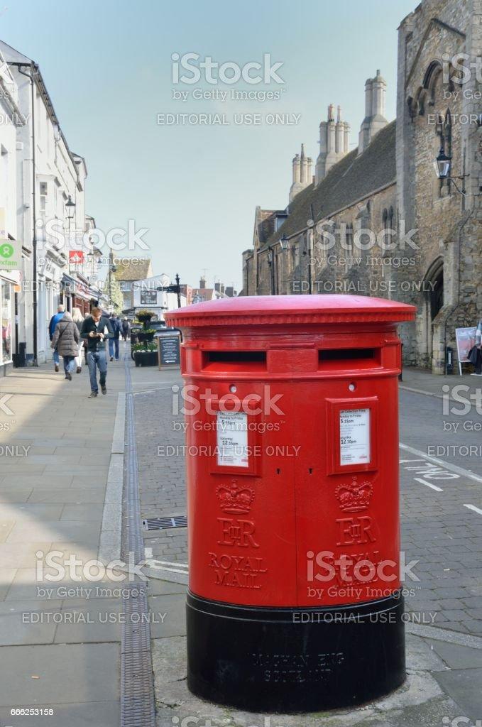 Traditional English Post Box stock photo