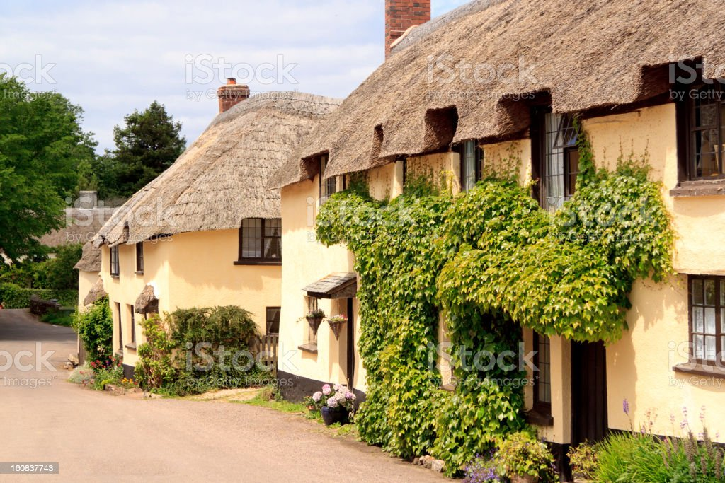 Traditional English thatched cottages in Dorset stock photo