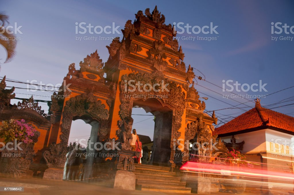 Traditional entrance gate of Tanah Lot beach in Bali stock photo