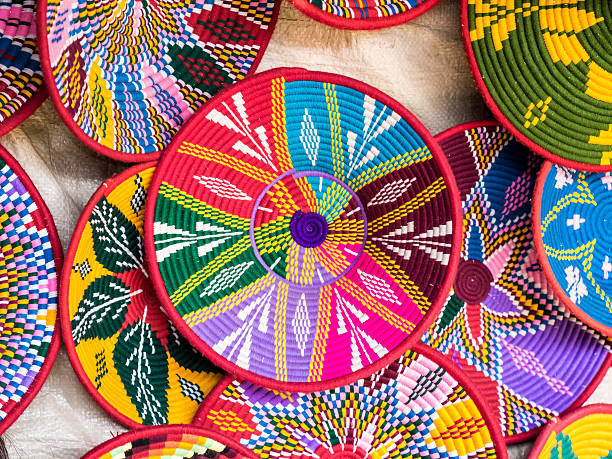 traditional ethiopian habesha baskets - african culture stock photos and pictures
