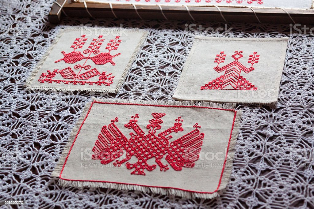 Traditional ethnic slavian towels stock photo