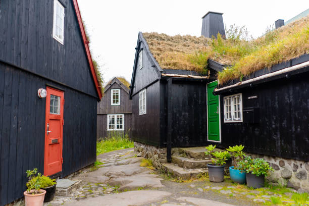 Traditional Faroese houses with grass roofs in Torshavn old district. Still life Scandinavian photo. stock photo