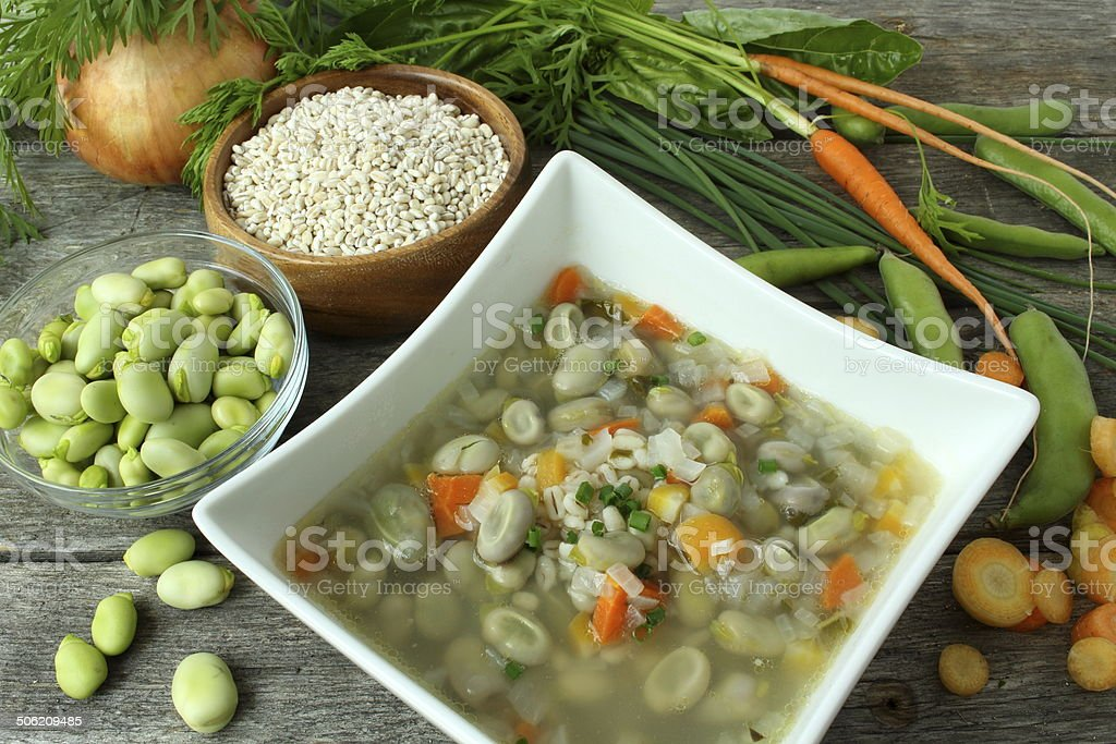 Traditional fava bean soup made with garden vegetables stock photo