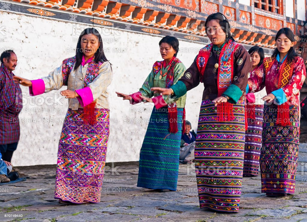Traditional festival in Bumthang, Bhutan stock photo