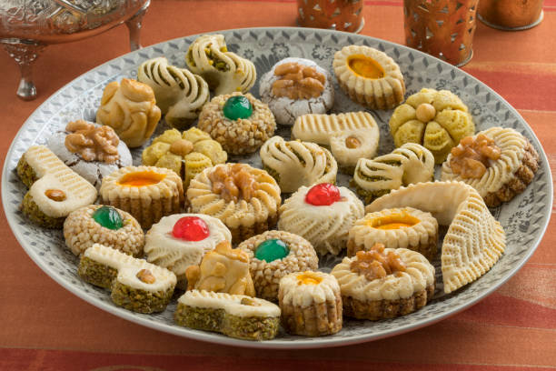 Traditional festive Moroccan cookies stock photo