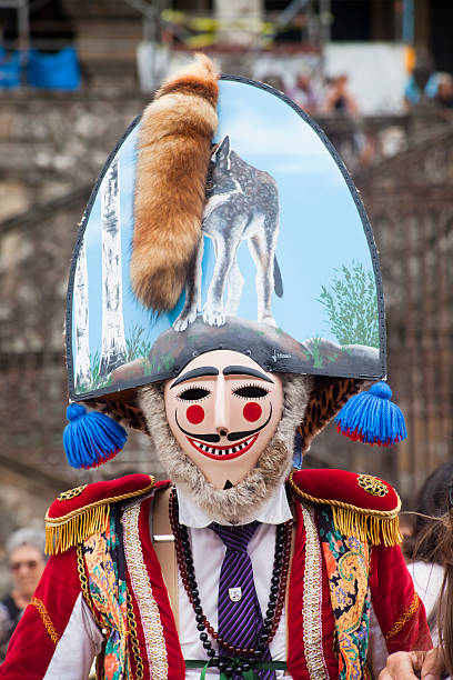 traditional figure of verin carnival, galicia, spain - wolf maske stock-fotos und bilder