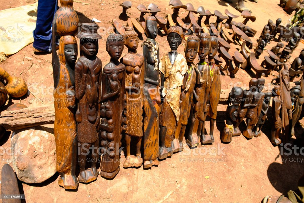Traditional figurine at handicrafts local market Kei Afer Omo valley, Ethiopia stock photo