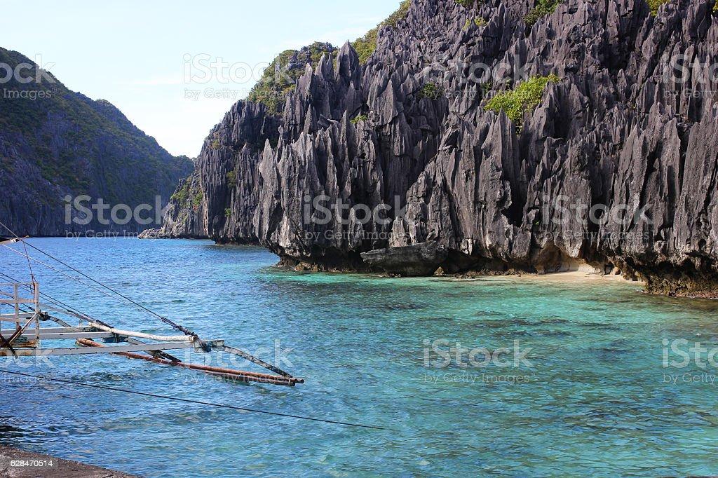 Traditional filippino island in the sea, Philippines stock photo